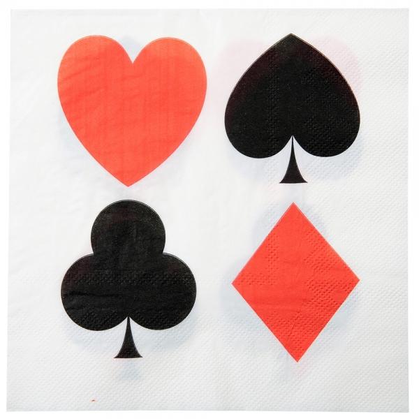 10 serviettes de table poker - blanc