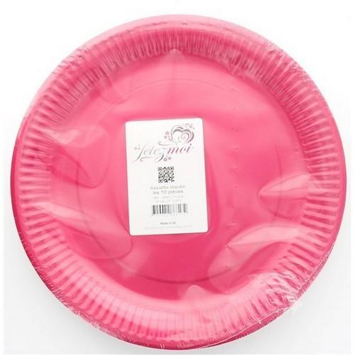 10 assiettes en carton laquée fushia - fetez-moi