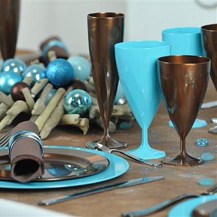 6 verres à eau design plastique rigide chocolat 20 cl