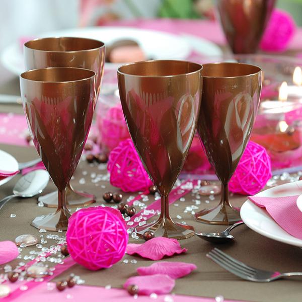 6 verres à vin design plastique rigide chocolat 15 cl