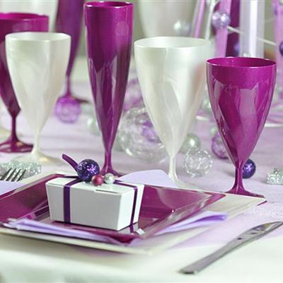 6 verres à vin design plastique rigide pourpre pailletés 15 cl
