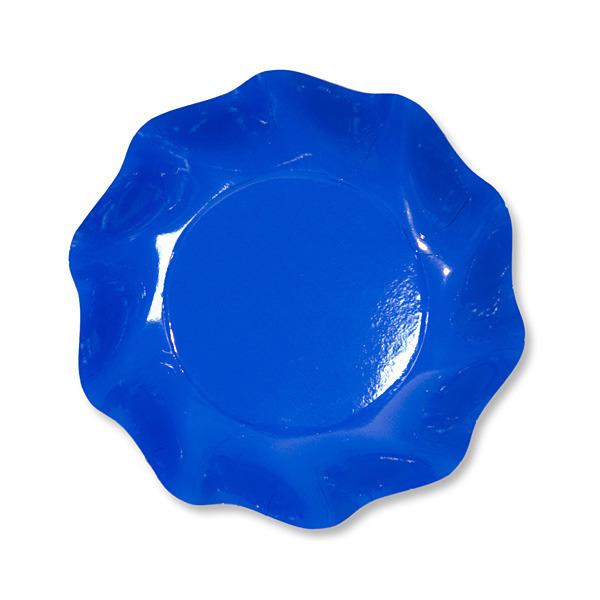 10 coupelles rondes en carton bleu azur party line 18.5 cm
