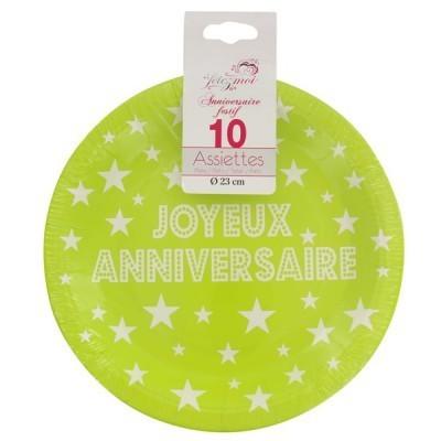 10 assiettes joyeux anniversaire en carton vert - 23 cm