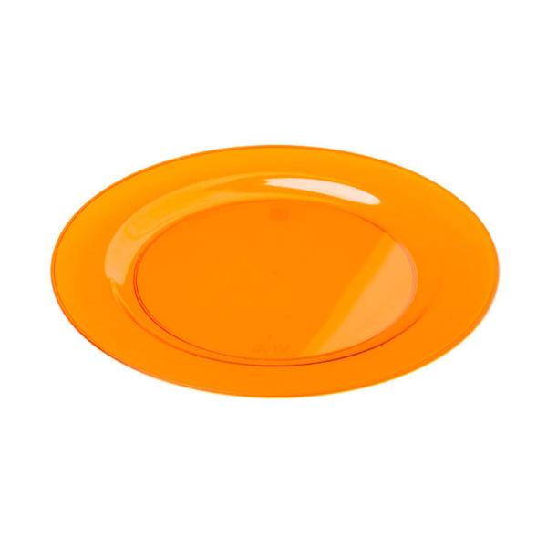 6 assiettes en plastique rigide ronde orange 23 cm