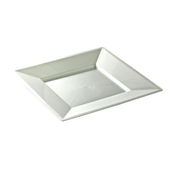 12 assiettes en plastique rigide carré blanc nacré prestige 18 cm