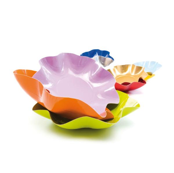 10 assiettes à dessert rondes en carton vert pré party line 21 cm