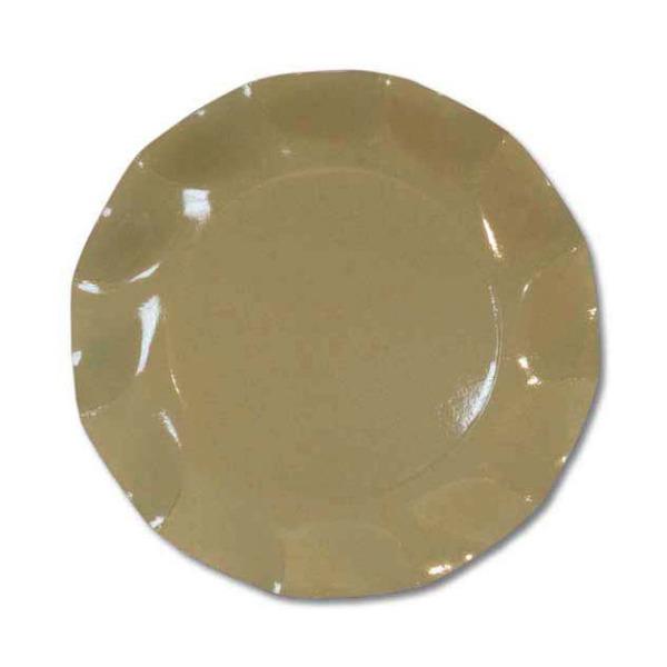 10 assiettes à dessert rondes en carton taupe party line 21 cm