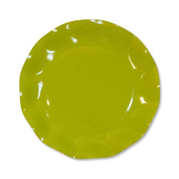 10 assiettes à dessert rondes en carton vert citron party line 21 cm