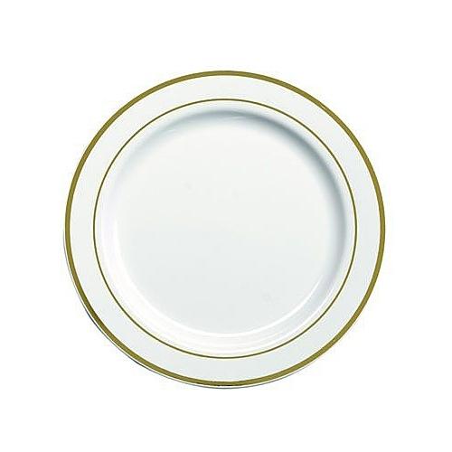 20 assiettes en plastique rigide blanc liseré or 19 cm