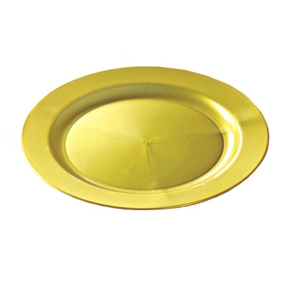12 assiettes en plastique rigide ronde or prestige 24 cm
