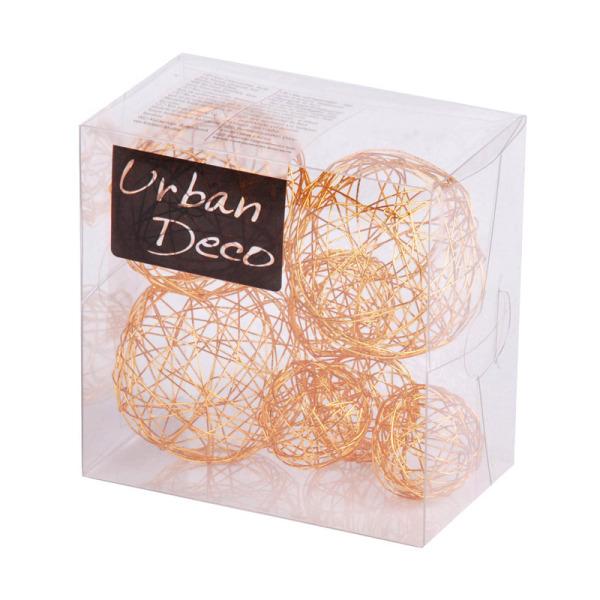7 boules de déco en fils de métal orange