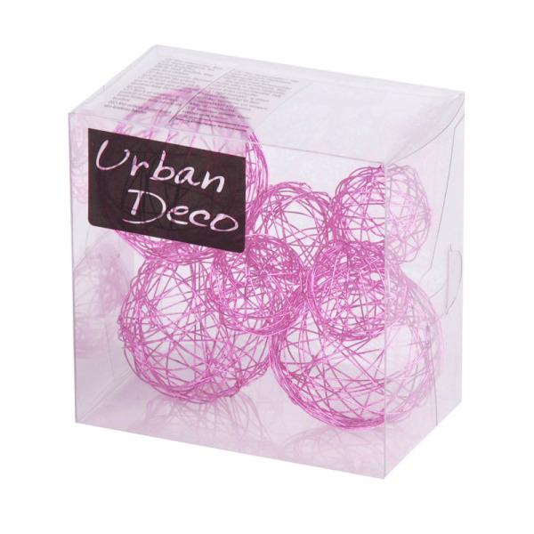 7 boules de déco en fils de métal rose
