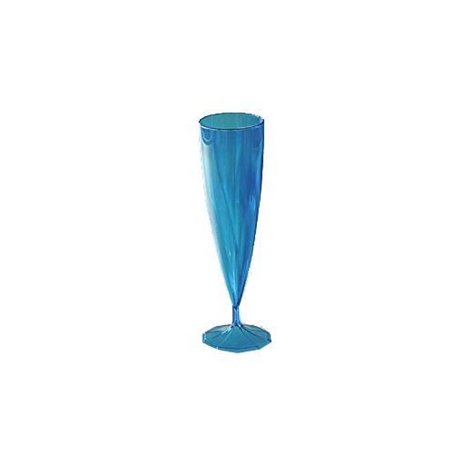 10 flûtes à champagne en plastique rigide monobloc bleu 13 cl