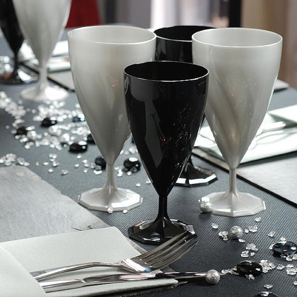 6 verres à vin design plastique rigide argent 15 cl