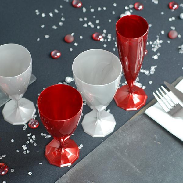 6 verres à eau design plastique rigide rouge carmin 20 cl