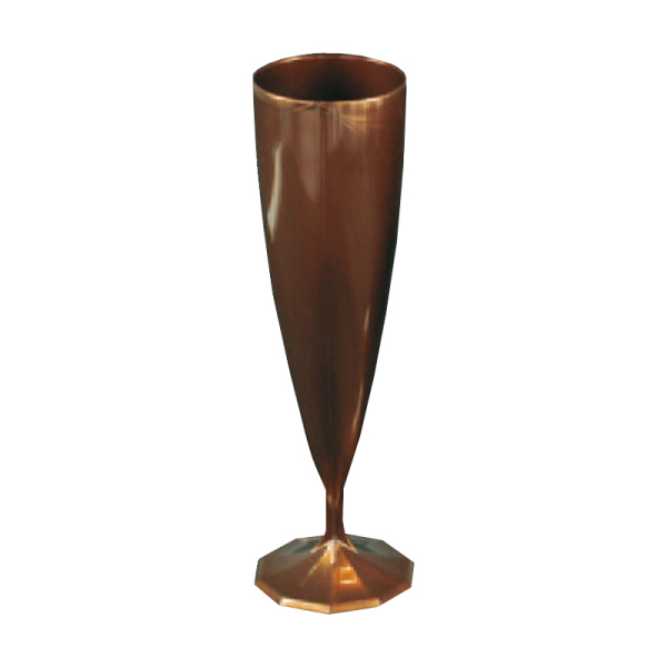 10 flûtes à champagne en plastique rigide monobloc chocolat 13 cl