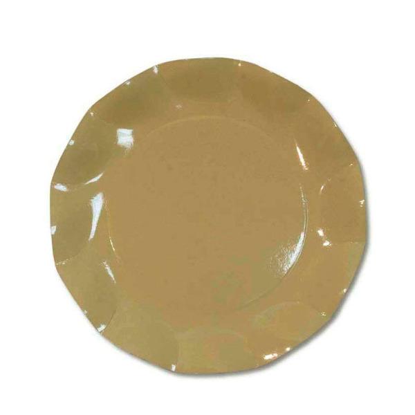 10 grandes assiettes rondes en carton taupe party line 27 cm