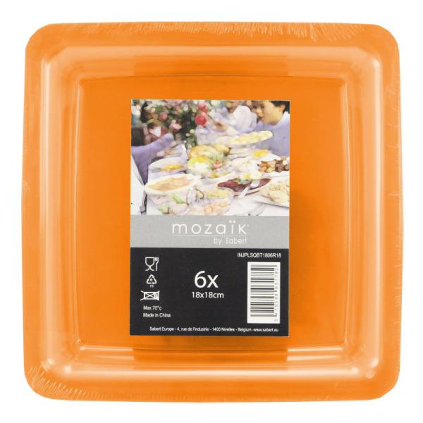 6 assiettes en plastique rigide carré orange 18 cm