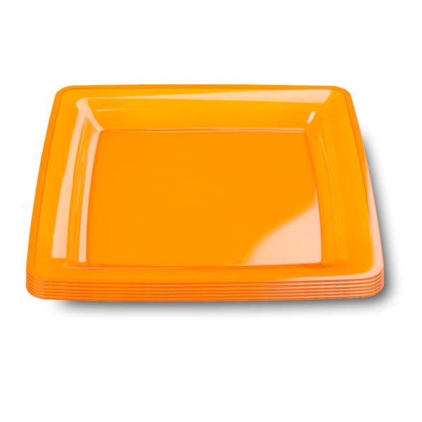 6 assiettes en plastique rigide carré orange 23 cm