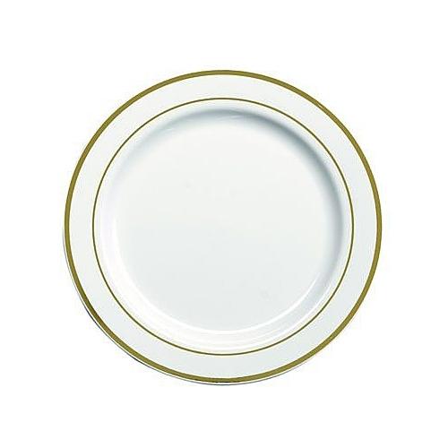 20 assiettes en plastique rigide blanc liseré or 15 cm