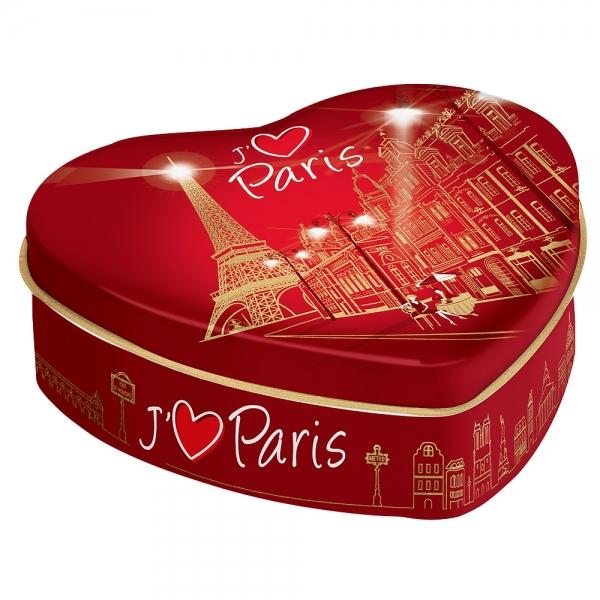 boite à bonbon coeur paris rouge et or- caramels 100g