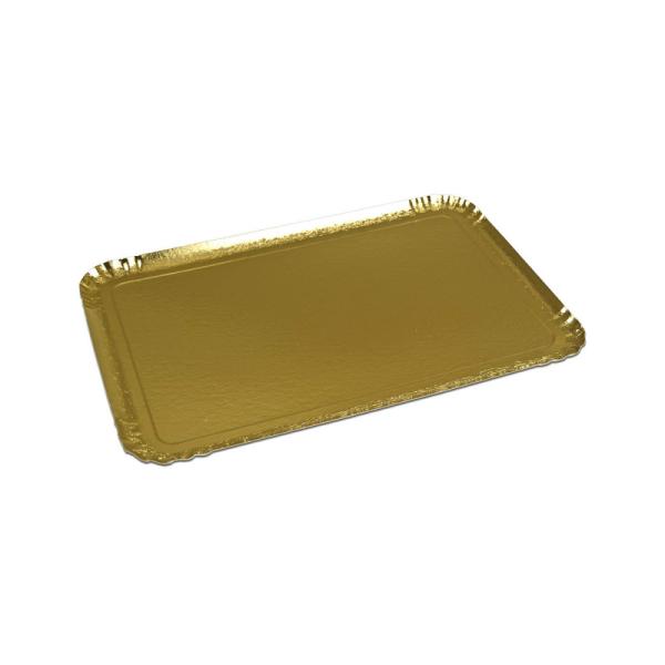 25 plateaux de service rectangle or 19x28 cm