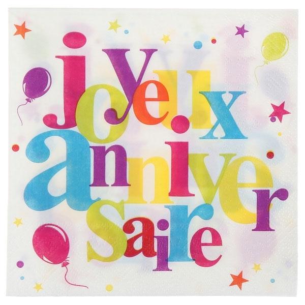 20 serviettes de table joyeux anniversaire festif en papier - multicolore