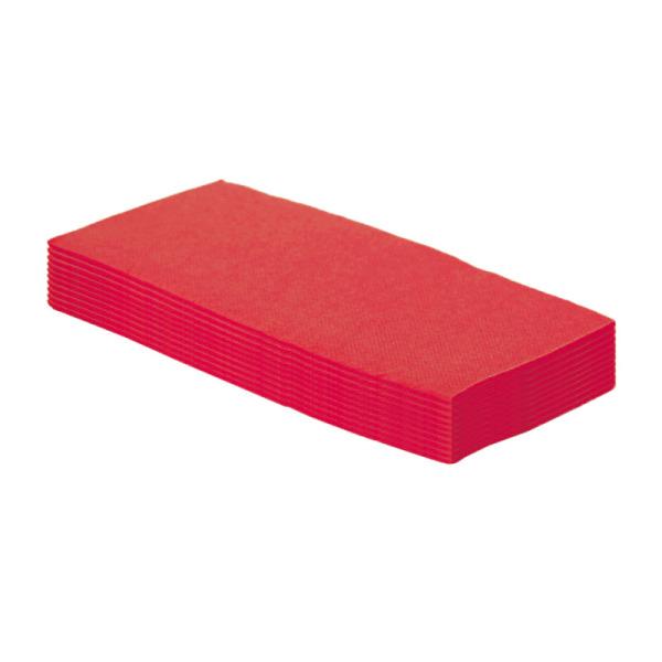 50 serviettes en papier microgaufré double épaisseur rouge 38 cm pliage 1/8