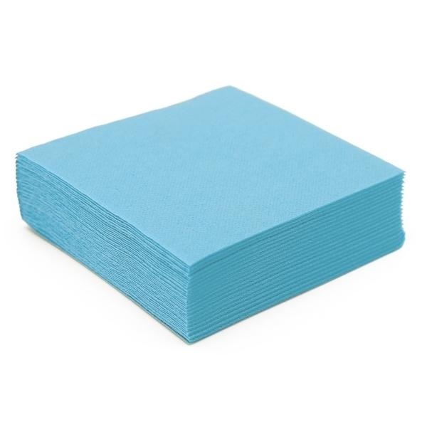 50 serviettes cocktail papier microgaufré double épaisseur bleu caraîbes 25 cm