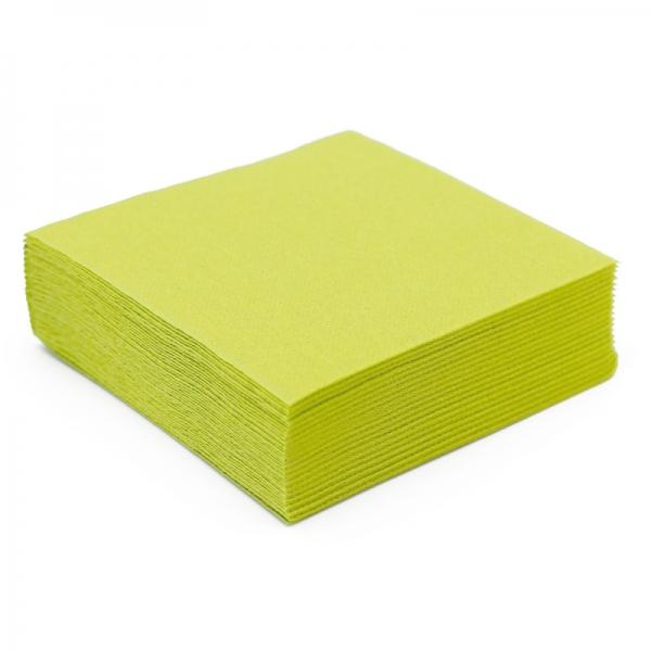 50 serviettes papier microgaufré double épaisseur vert kiwi 38 cm