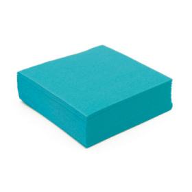 50 serviettes cocktail papier microgaufré double épaisseur turquoise 25 cm