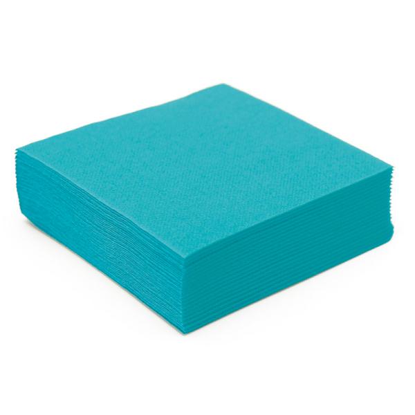 50 serviettes papier microgaufré double épaisseur turquoise 38 cm