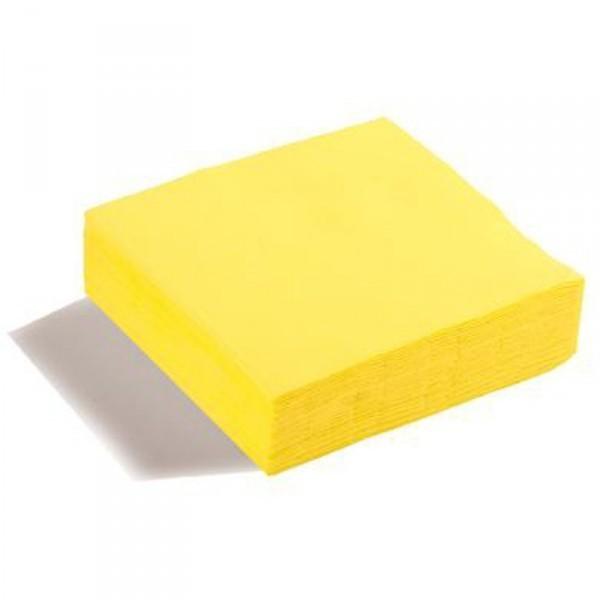 50 serviettes papier microgaufré double épaisseur jaune vif 38 cm