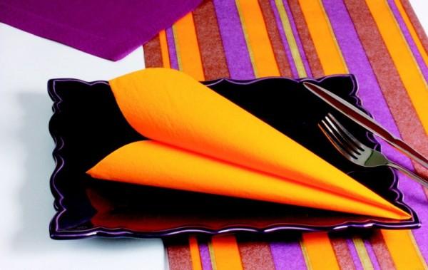 100 serviettes de table ouate de cellulose 2 plis mandarine 38 cm