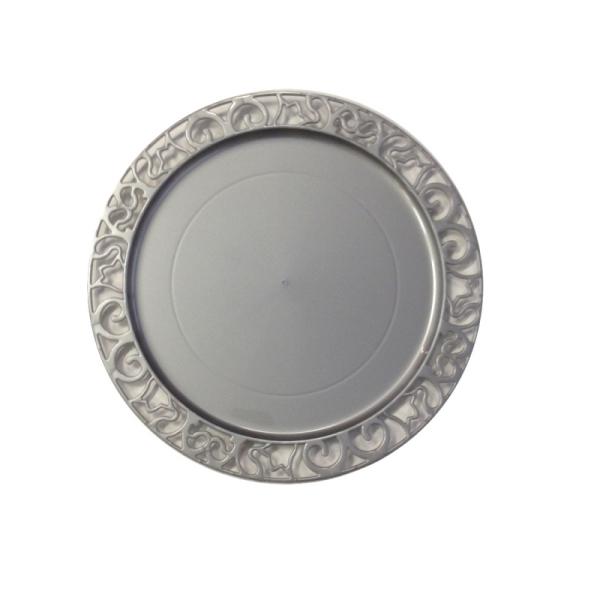 4 sous-assiettes rondes argent 30 cm