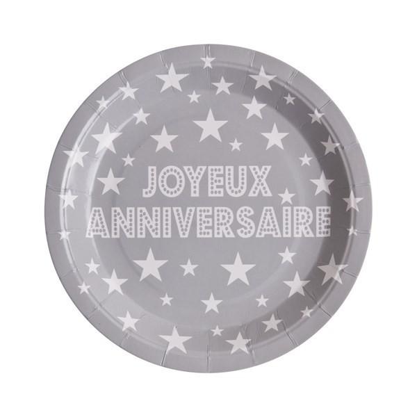 10 assiettes joyeux anniversaire en carton gris - 23 cm