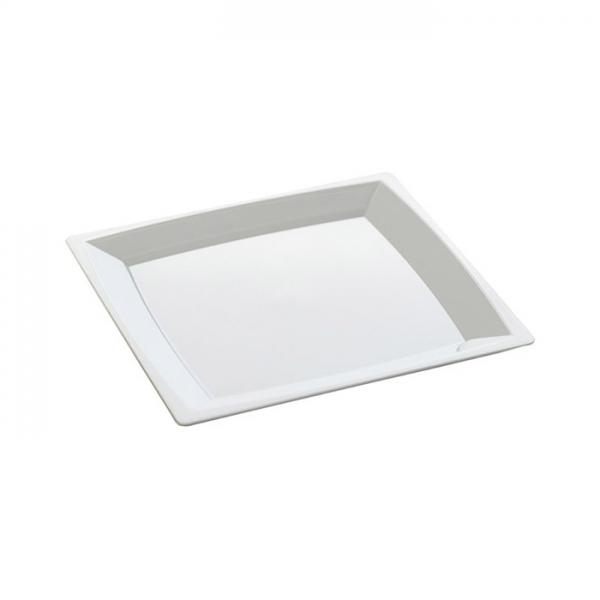 24 petites assiettes milan en plastique blanc 14 cm