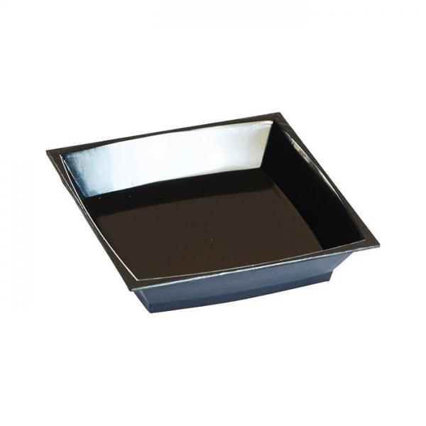 50 petites assiettes milan en plastique noir 7 cm