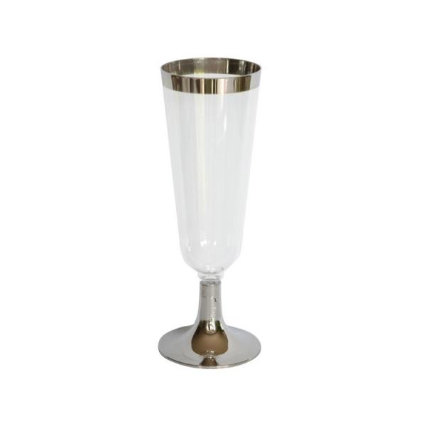 12 flûtes à champagne celebration en plastique transparent et argent 15 cl