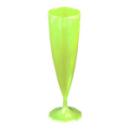 10 flûtes à champagne en plastique rigide monobloc vert anis 13 cl