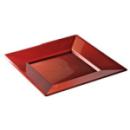 12 assiettes en plastique carré rouge carmin prestige 24 cm