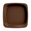 20 assiettes en plastique rigide carré marron 18 cm