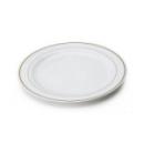 200 assiettes en plastique rigide blanc liseré or 19 cm