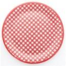 10 assiettes en carton vichy - rouge