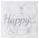 20 Serviettes Happy - Blanc