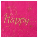 20 Serviettes Happy - Fuchsia