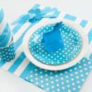 10 Petites assiettes à pois en carton - Bleu