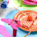 10 Petites assiettes à pois en carton - Orange
