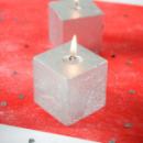 Bougie carrée pailletée - Argent