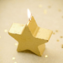 Bougie étoile pailletée - Or